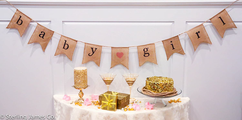 Baby Shower Banner Amazoncom Baby Girl Burlap Banner Baby Shower Decorations