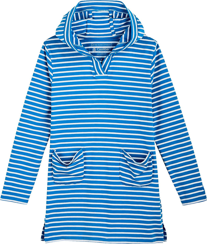 Coolibar UPF 50+ Girls' Beach Cover-up Dress - Sun Protective (X-Large- Brilliant Blue/White Stripe)