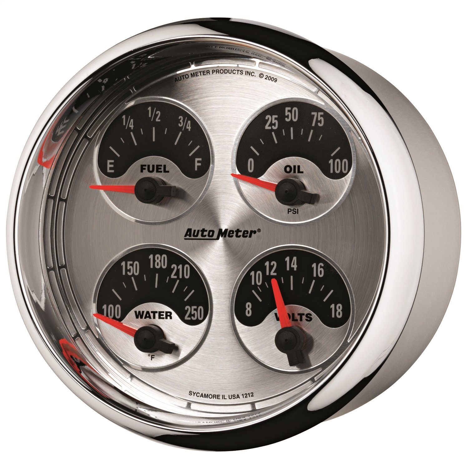 Auto Meter 1212 American Muscle 5' Short Sweep Electric Quad Gauge