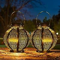 2 Pack Large Solar Lanterns Outdoor Lights Garden Decorative Lights Outdoor Waterproof Retro Style LED Decor Lights…