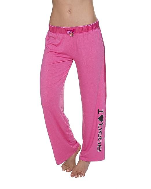 3e5e42dd4157 bebe Intimates Women's Satin Panel Knit Pajama Sleepwear Long Pants bebe  Heather Pink Large