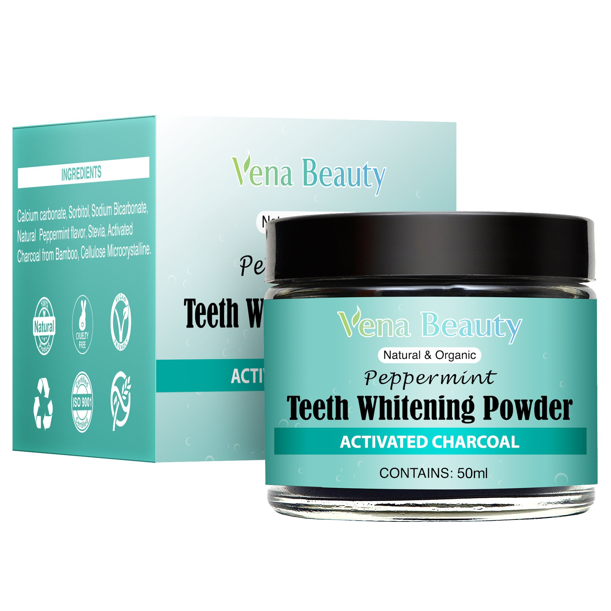 Natural Teeth Whitening Powder - Made with Organic Bamboo Activated Charcoal and Food Grade Formula –for Sensitive Teeth and Healthy Whitener (30ml)