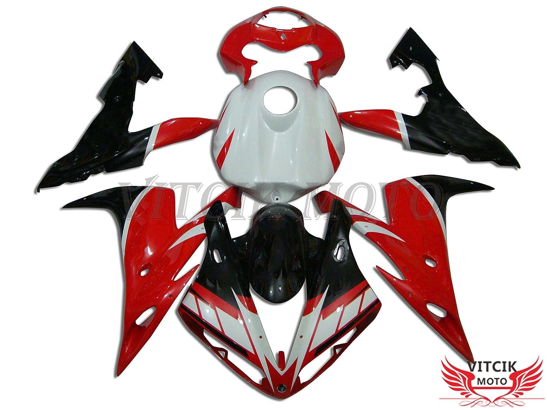 VITCIK (フェアリングキット 対応車種 ヤマハ Yamaha YZF-1000 R1 2004 2005 2006 YZF 1000 R1 04 05 06) プラスチックABS射出成型 完全なオートバイ車体 アフターマーケット車体フレーム 外装パーツセット(レッド & ブラック) A018   B073S9VK2C