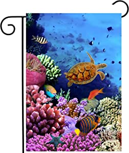 "ShineSnow Exotic Blue Summer Ocean Sea Turtle Underwater Life Coral Reef Fish Garden Yard Flag 12""x 18"" Double Sided Polyester Welcome House Flag Banners for Patio Lawn Outdoor Home Decor"