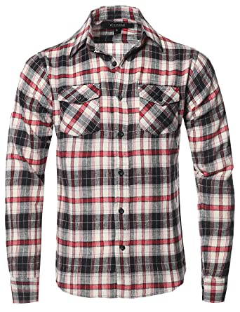 amazon com youstar men\u0027s long sleeve button down chest pocketflannel plaid checkerd long sleeve tshirts red white black size s