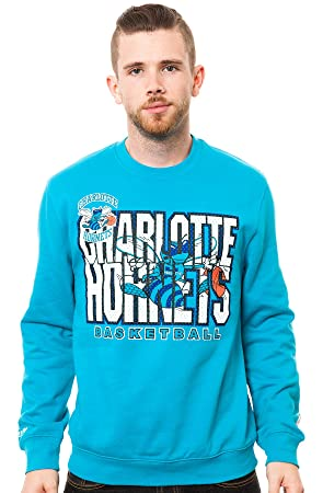 Charlotte Hornets Mitchell & Ness NBA Throwback Crew Sweatshirt camisa - Blue