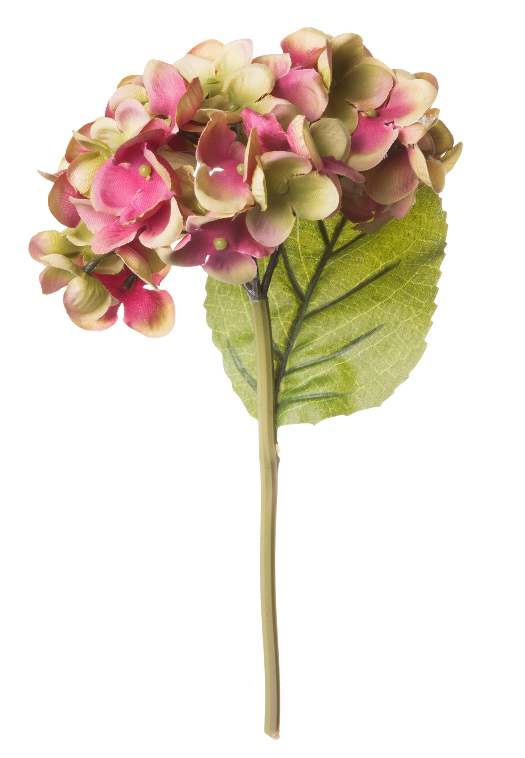 Red Co. Gorgeous Pink and Green Hydrangea, Decorative Faux Flowers, Artificial Floral Arrangements, Home and Garden Décor, 10-inch