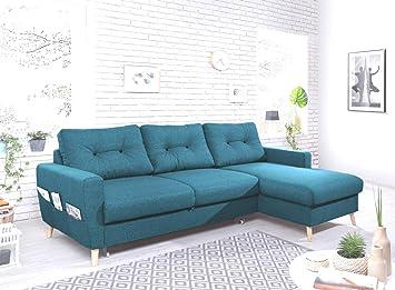 Bobochic - Oslo - Canapé d\'angle Droit Convertible - Bleu Canard -  225x147x86cm