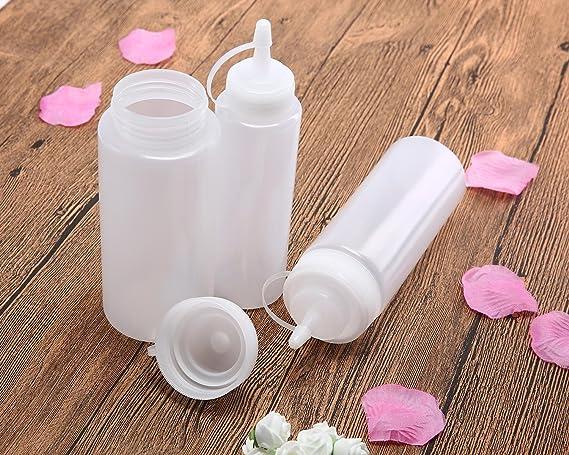 Compra AOLVO - Juego de 3 Botellas de plástico para condimentos de Salsa de Salsa de Salsas de 30 ML con Capucha, para Salsas, bocadillos, bocadillos, ...