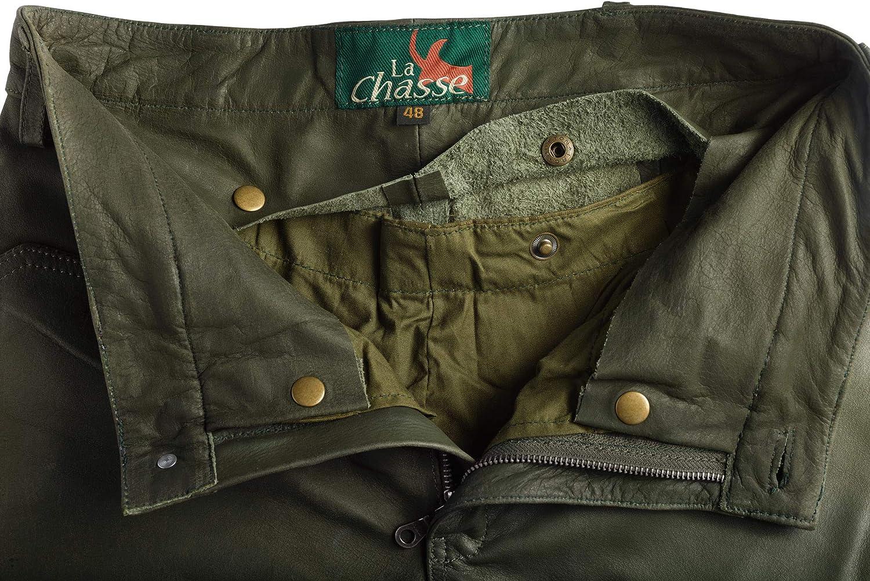La Chasse® Jagd Lederhose aus Büffelleder mit Beintasche Herren strapazierfähig