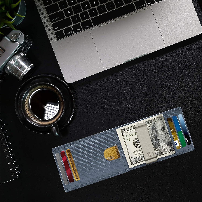 Money Clip Wallet RFID Front Pocket Leather Thin Minimalist Mens Wallet Credit Card Holder Slim Bifold Wallets For Men