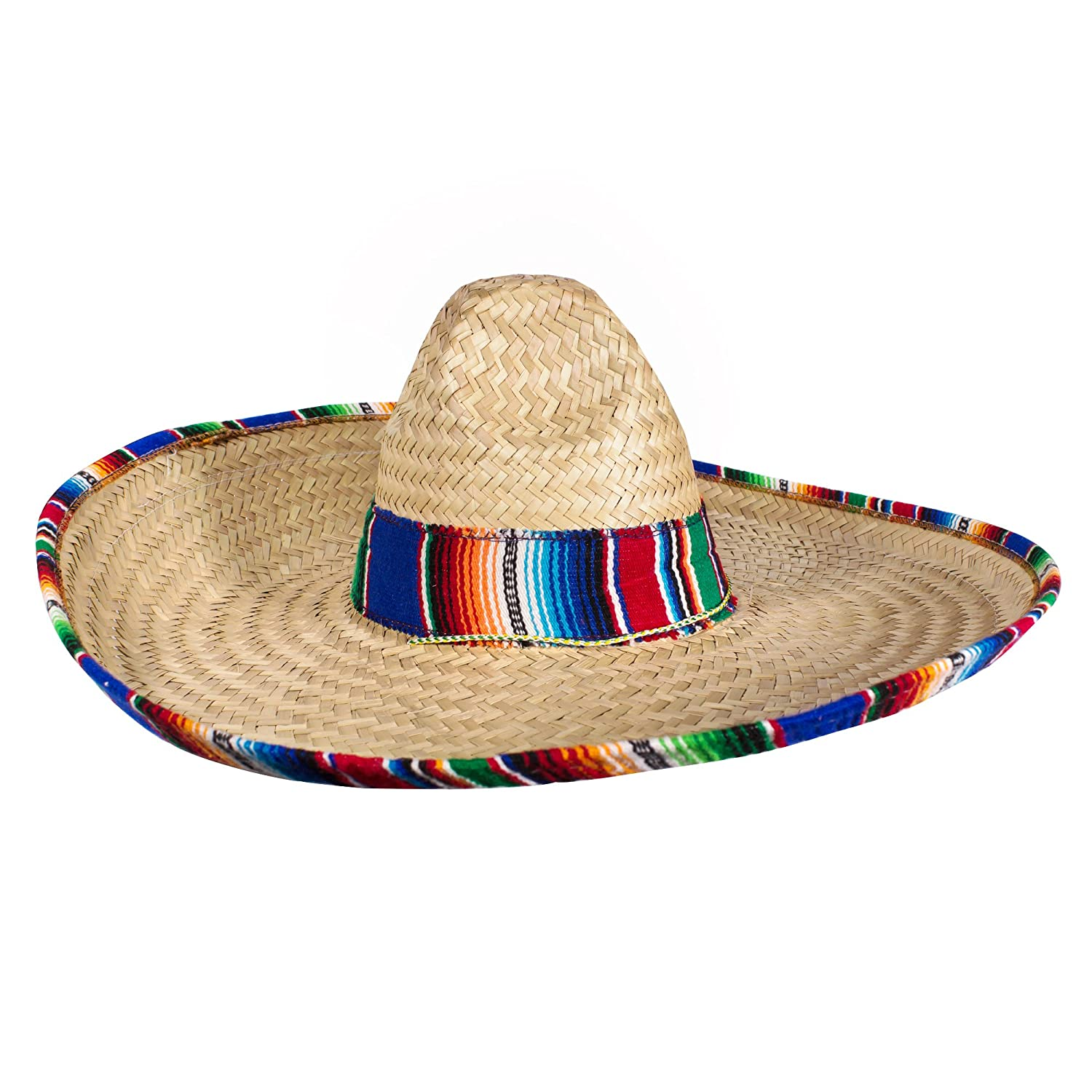 Amazon Com Authentic Sombrero Straw Hat With Setrim Cinco De Mayo Fiesta Party Made In Mexico Clothing
