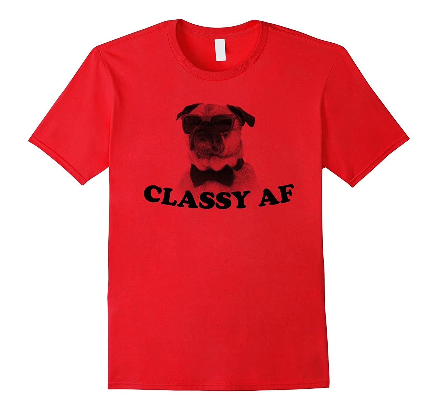 Classy AF Funny Sunglasses Bowtie Pug Graphic Tee-AZP