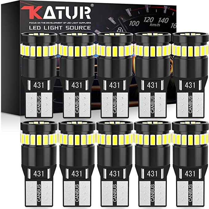 Katur 194 Led Light Bulb 6000k White Super Bright 168 2825 W5w T10 Wedge 24 Smd 3014 Chipsets Led Replacement Bulbs Canbus Error Free For Car Dome Map Door Courtesy License Plate Lights 10pcs White Automotive Amazon Com