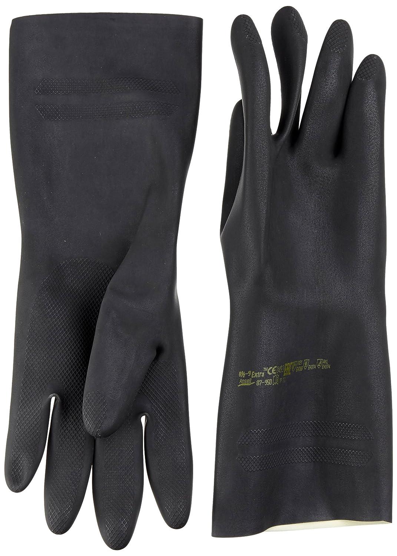 Ansell Extra 87-950 Gants en latex de caoutchouc naturel, protection contre les produits chimiques et les liquides, Noir, Taille 6.5-7 (Sachet de 1 paire) Ansell Extra 87-950 / 6.5-7