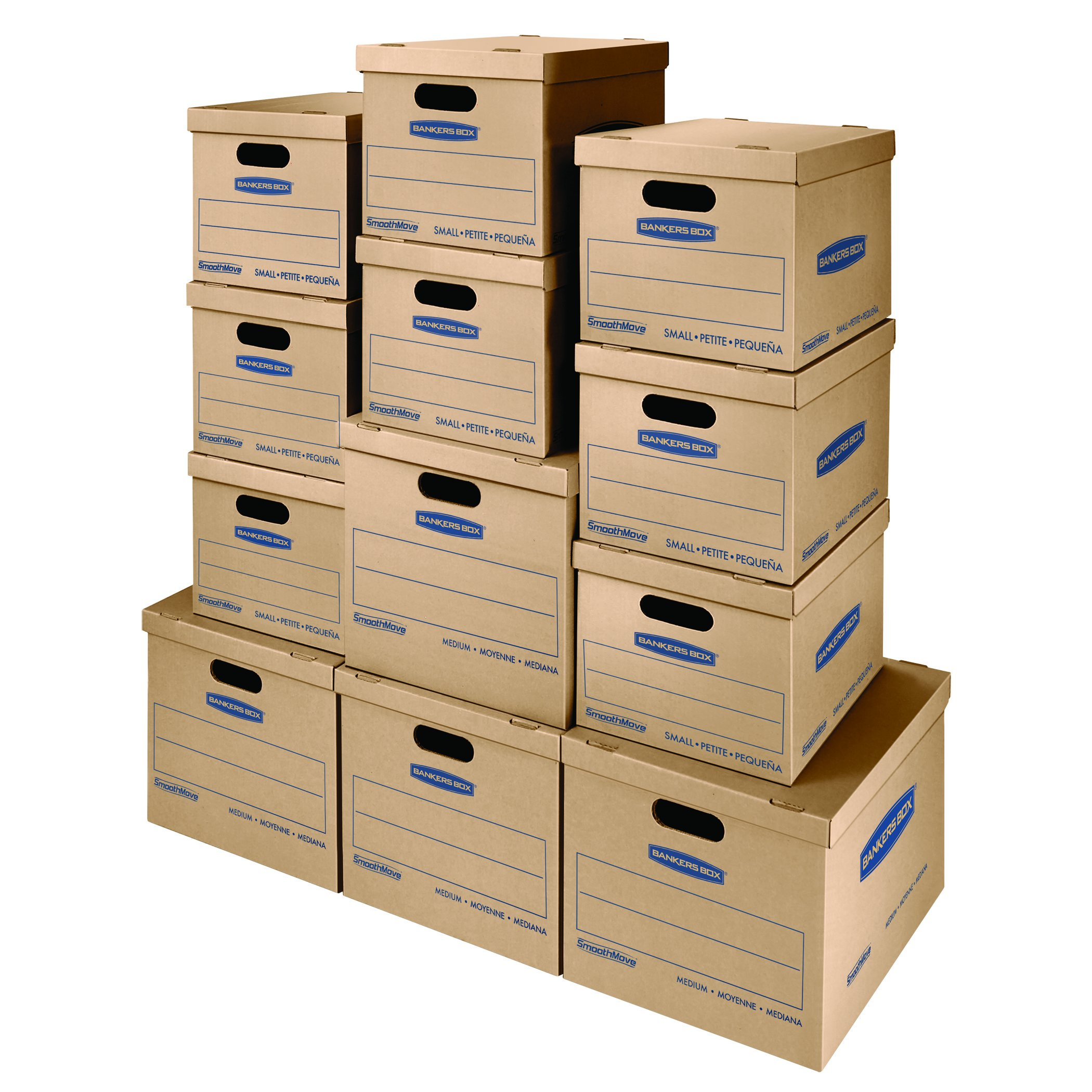 Bankers Box SmoothMove Classic Moving Kit Boxes, Tape-Free Assembly, Easy Carry Handles, 8 Small 4 Medium, 12 Pack (7716401) by Bankers Box