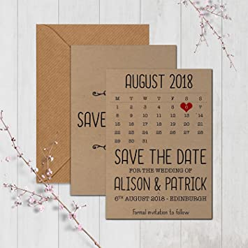 Save The Date Karten Vintage.Made By Mika Personalised Rustic Kraft Wedding Save The Date Cards