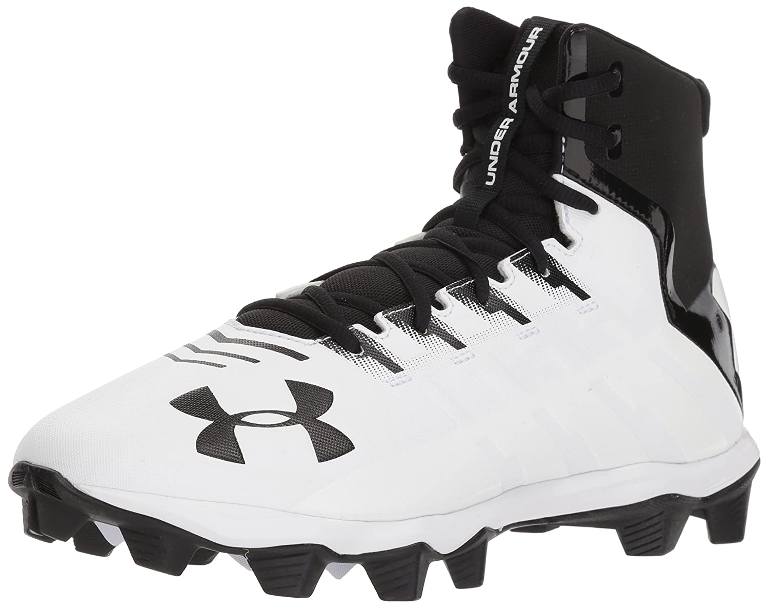 New Mens Under Armour Renegade RM Mid Football Cleats Black//White Sz 11 M