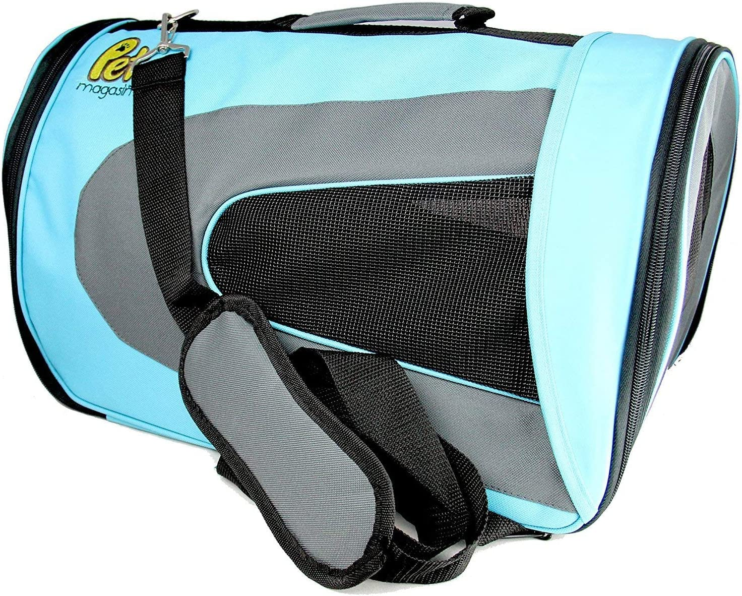 Pet Magasin Soft-Sided Pet Travel Carrier (Airline Approved) for Cats, Small Dogs, Puppies and Other Pets by (Large, Blue) : Pet Supplies