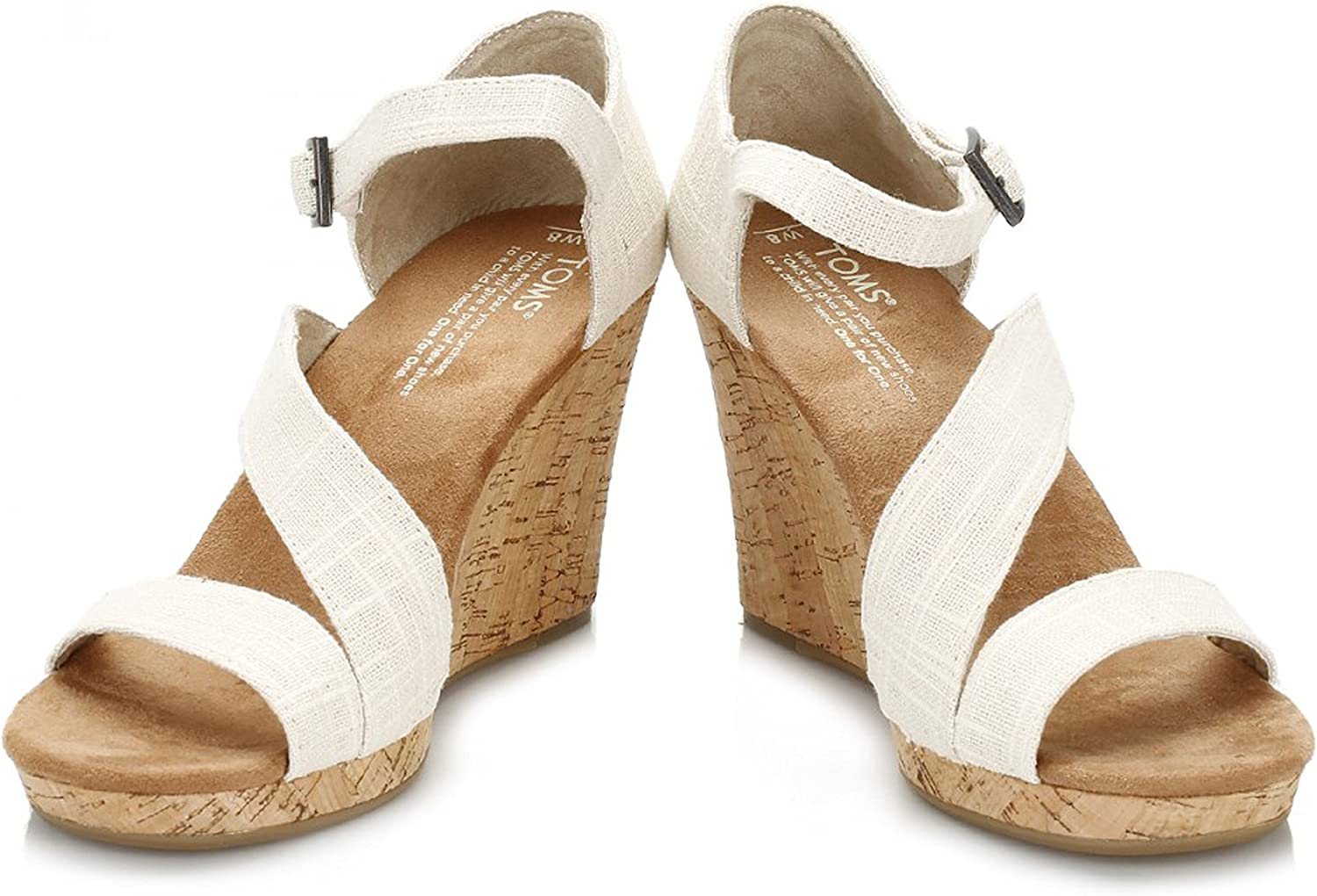 Black Canvas Women's Strappy Wedges 024001B12 Natural