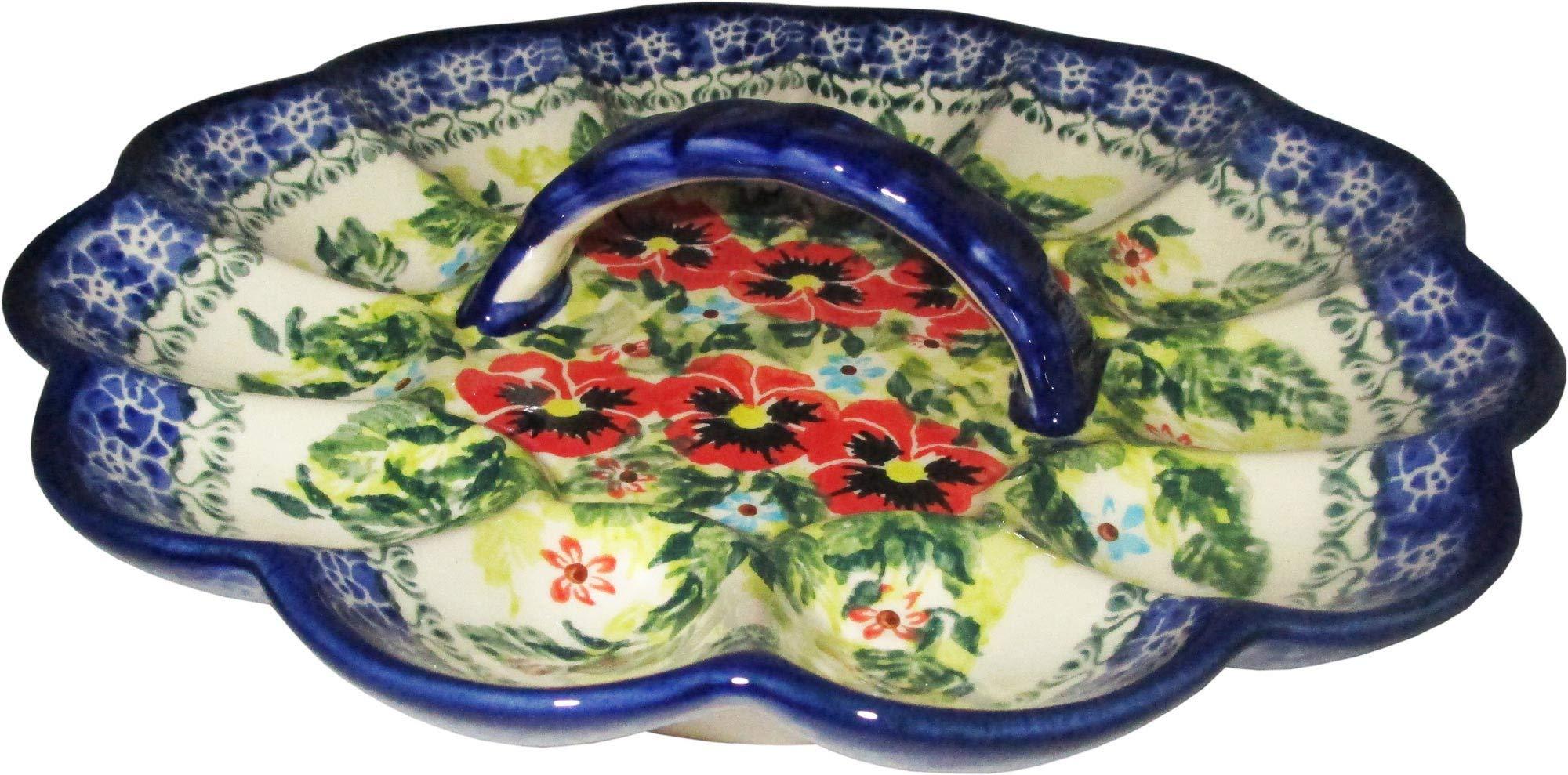 Boleslawiec Polish Pottery Deviled Egg Serving Plate Eva's Collection''Summer Day''