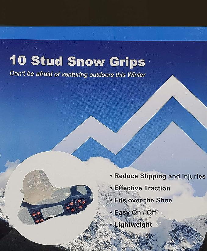 Disponibles en tama/ño peque/ño Grande y Extragrande Tacos para Hielo o Sobre Zapatos para Escalada y Senderismo Snow Grips For Shoes Agarres para Nieve con Tachuelas Mediano