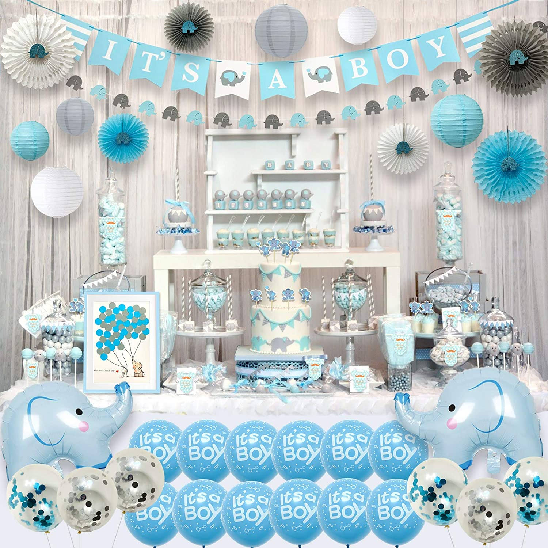 Ajworld Blue Elephant Baby Shower Decorations for Boy Party