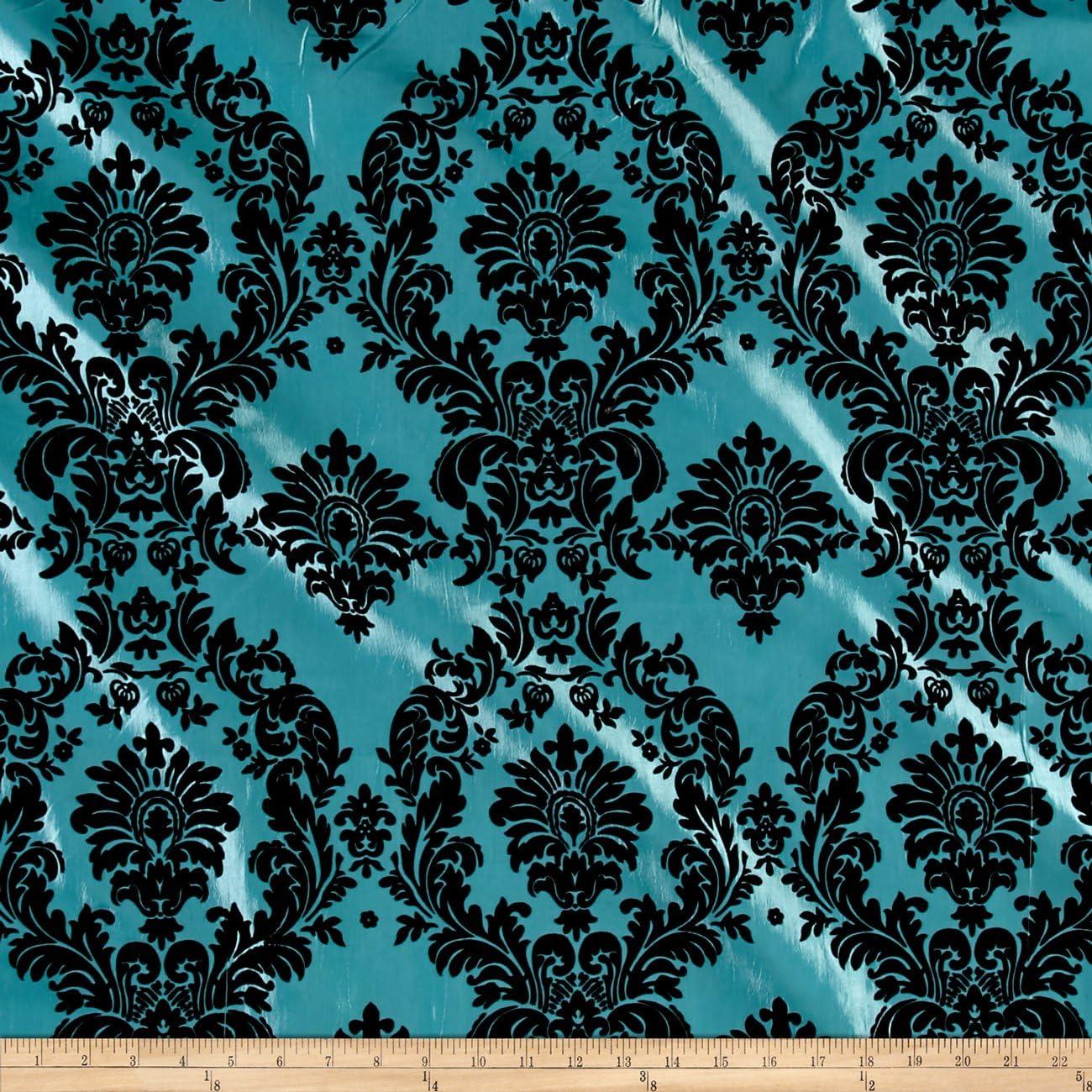 Amazon.com: Ben Textiles Flocked Damask Taffetta Aqua Blue/Black