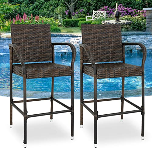 BBBuy Wicker Bar Stool Outdoor Backyard Chair Patio Furniture