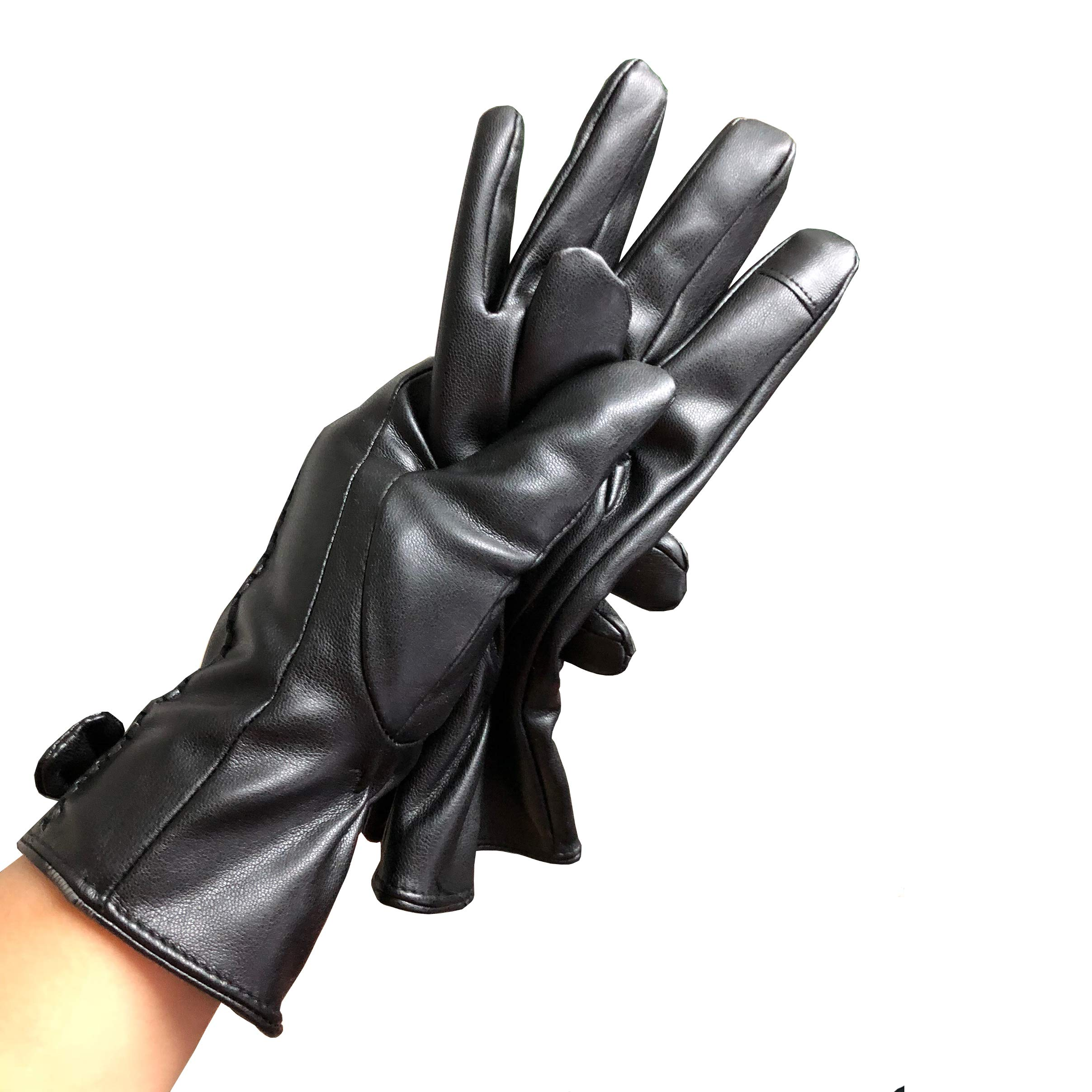 Women Winter Waterproof Leather Gloves for Driving Texting Touch Screen Gloves