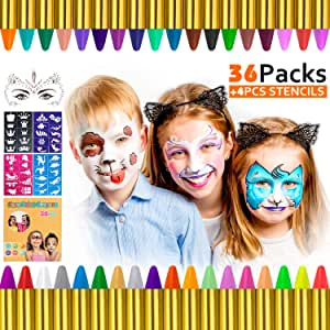 Gifort Pinturas Cara para Niños, 36 Colores Pintura Facial crayones de Pintura Carnaval para Halloween, Fiestas, Semana Santa, Cosplay, Fiestas Temáticas: Amazon.es: Juguetes y juegos