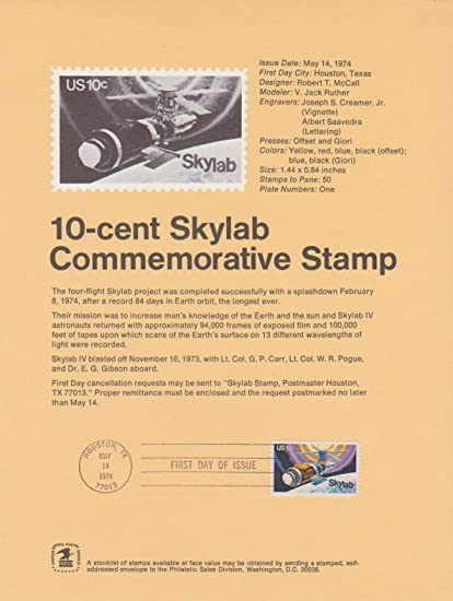 Amazon Com First Day Of Issue Skylab Commemorative 10 Stamp
