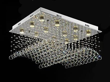Kronleuchter Kristall Silber ~ Wenseny pendelleuchte in kristall lampen led rechteck kristall