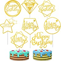 40 Pieces Happy Birthday Cake Toppers Glitter Birthday Cupcake Topper Picks Gold Cake Decorations Dessert Toppers for Birthday Party Supplies, 8 Styles
