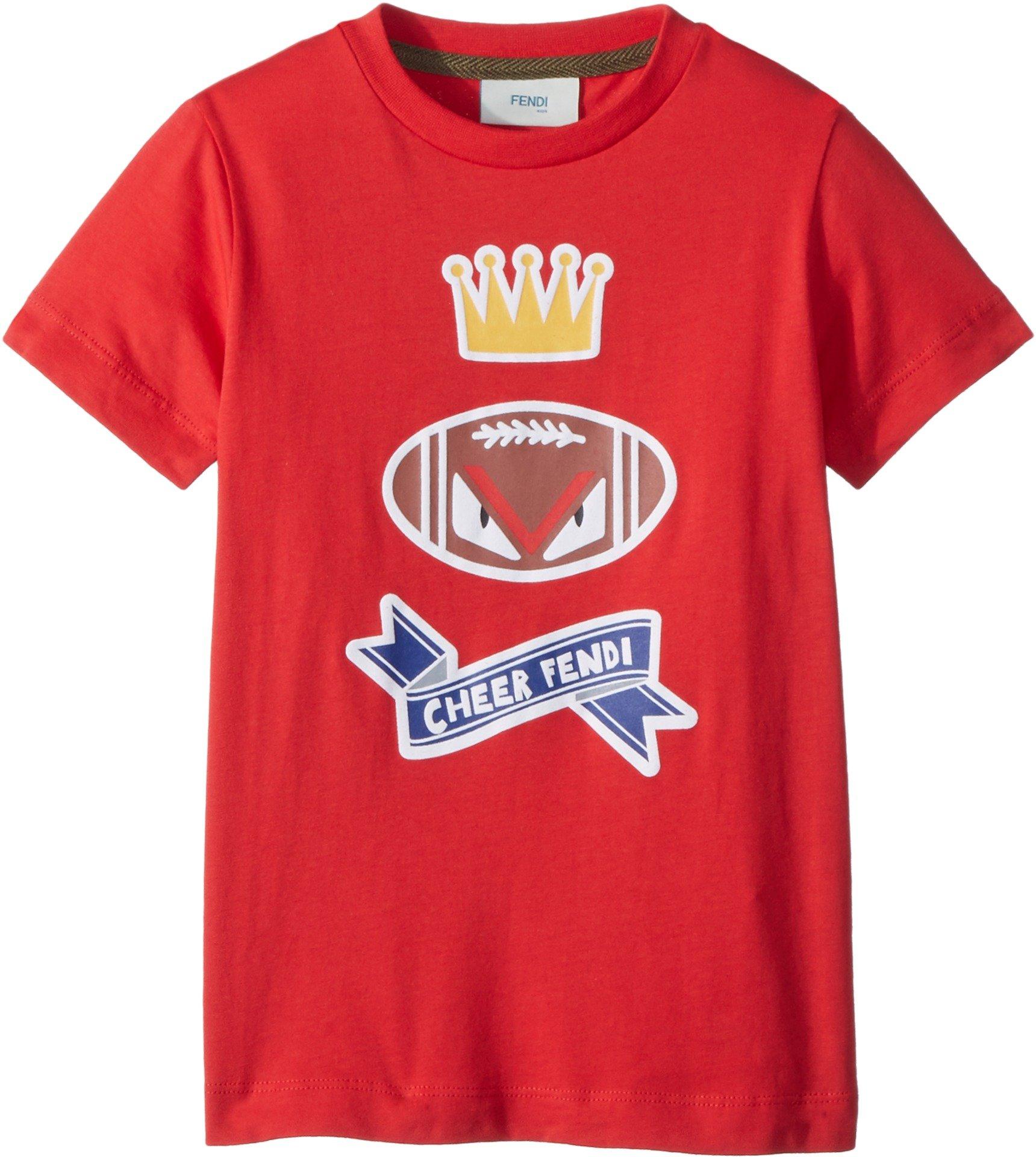 Fendi Kids Baby Boy's Short Sleeve 'Cheer Fendi' Football Graphic T-Shirt (Toddler) Red 4 Years