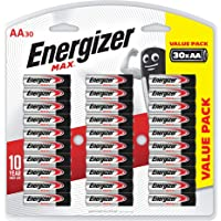Energizer AA Batteries, MAX Alkaline, 30 Pack
