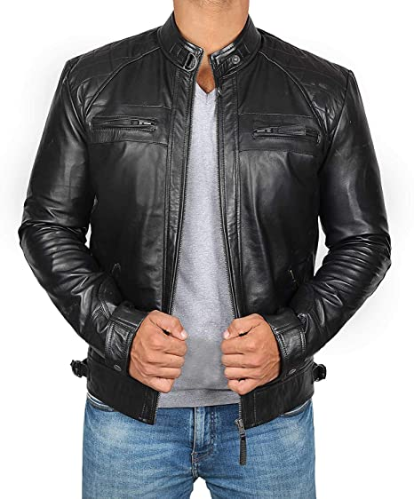 d5047bdbc Mens Leather Jacket for Biker - Distressed Genuine Lambskin Brown Leather  Jacket Men
