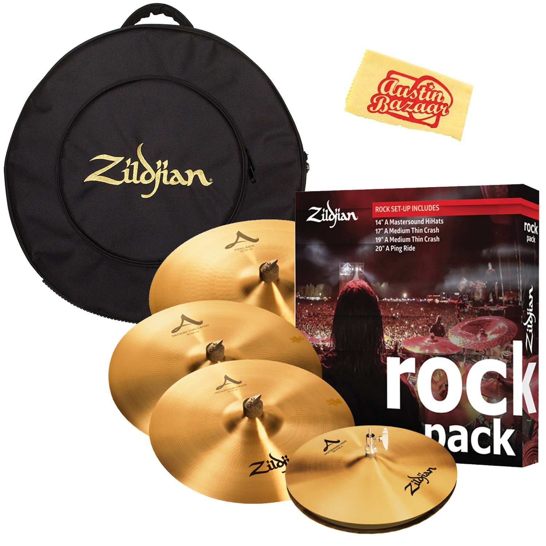 Zildjian A0801R Rock Pack Cymbal Set Bundle with Gig Bag and Austin Bazaar Polishing Cloth