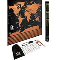 Scratch Off World Map Poster - Travel Map - Gift For Men or Women - Includes Acessorise Set & Tube - Interior Decoration