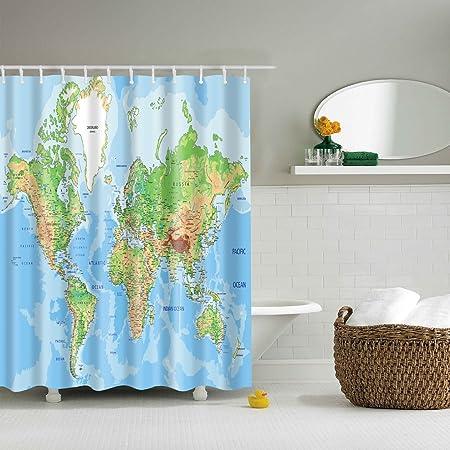 Waterproof mouldproof opacity bath shower curtain with 12 hooks waterproof mouldproof opacity bath shower curtain with 12 hooks world map print pattern 180x180cm gumiabroncs Gallery