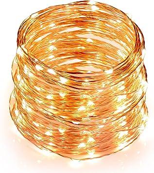 Comprar TOPLUS Cadena de luces LED Blanco Cálido, 10m 100 Leds, IP65 Impermeable, Alambre de Cobre para Decoración, Conexión USB, 5V           [Clase de eficiencia energética A]