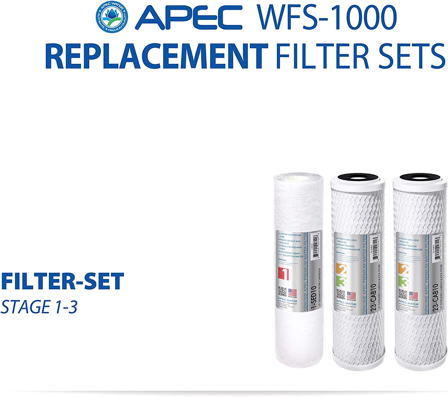 APEC WFS-1000 3 Stage Under-Sink Water Filter replacement filters