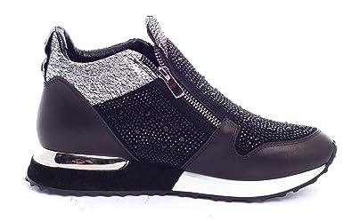BOBERCK Victoria Collection Womens Rhinestone Fashion Sneakers (7 US, Black)