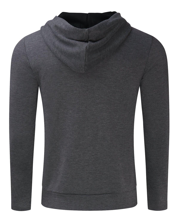 MODCHOK Men's Long Sleeve Hooded T Shirts Cotton Tee Tops Hoodies Sweatshirts Dark Grey XL by MODCHOK (Image #6)