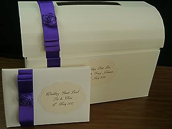 Boda, aniversario, cumpleaños, pecho, buzón de correos, Wishing Well, morado de satén con satén Rose: Amazon.es: Oficina y papelería