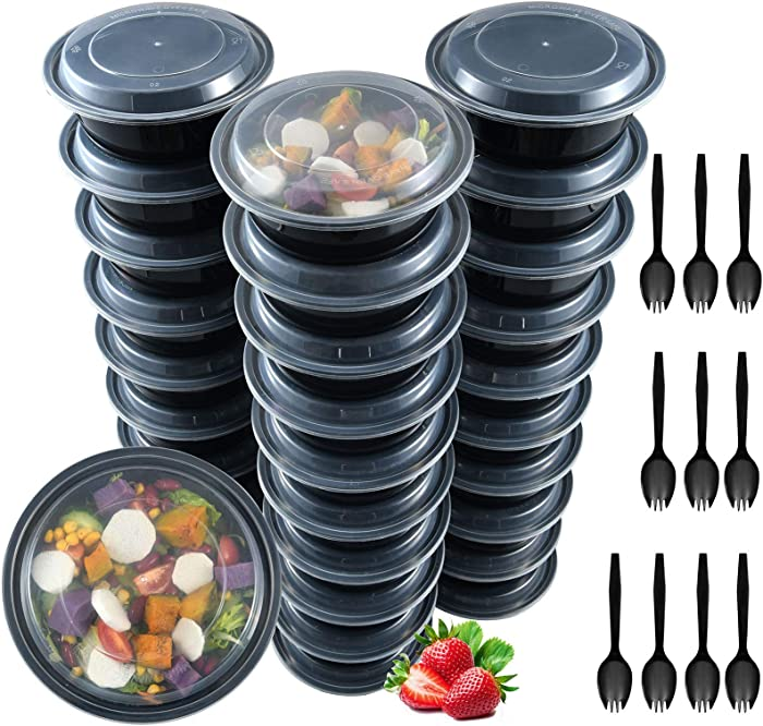 Plastic Meal Prep Containers, 30 Pack 32 oz, Reusable Food Storage Containers with Lids, Salad Container for lunch, Disposable Salad Bowls, Food Prep Bowls, Takeout Bento Box Freezer 10 Forks