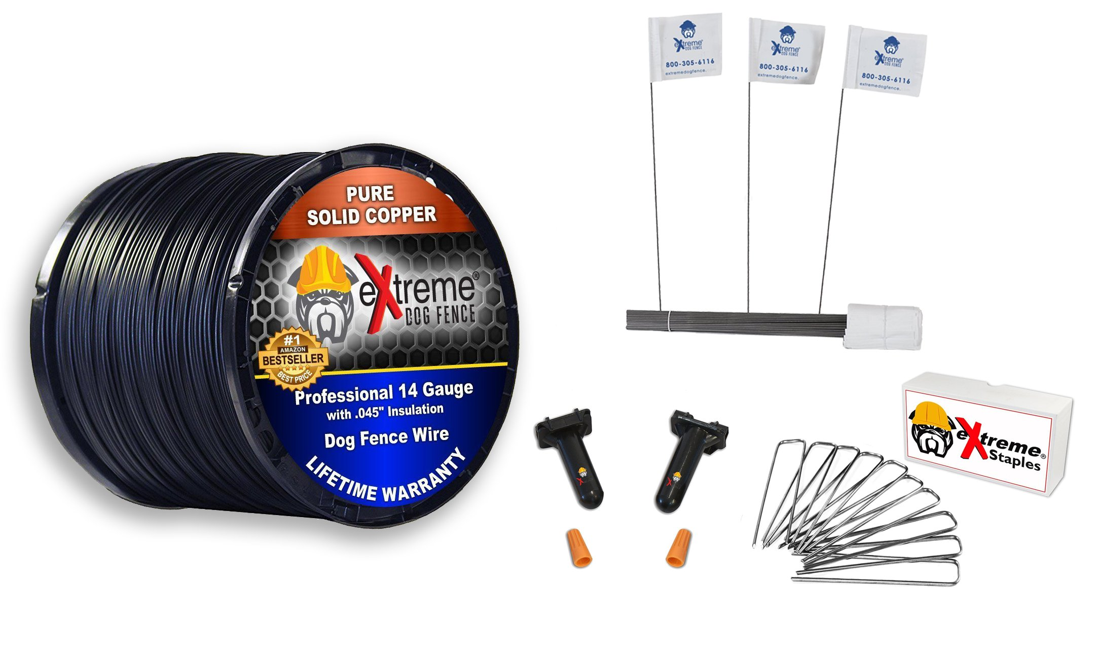 Dog Fence Wire Setup Kit - 1000 Feet of 14 Gauge Wire, 100 Training Flags, 200 Staples and 2 Pro Grade Splice Kits for 1 Acre - Compatible with All Electric Dog Fence Brands and Models by Extreme Dog Fence
