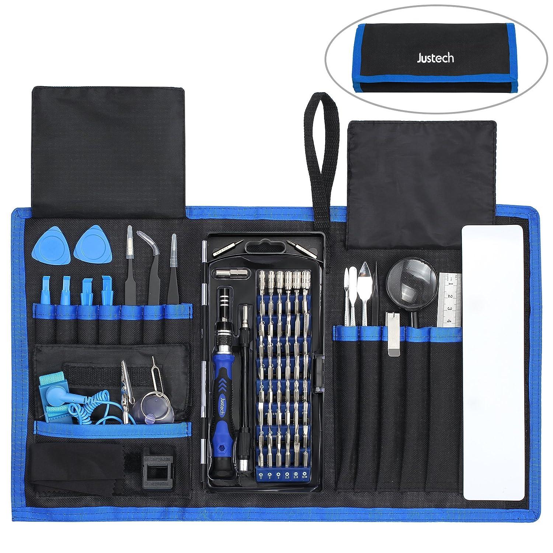 82 in 1 Precision Screwdriver Set Justech Magnetic Screwdriver Kit Professional Tiny Repair Tool Kit for Reparing Cell Phone iPhone iPad Laptop Smartphones MacBook -Blue