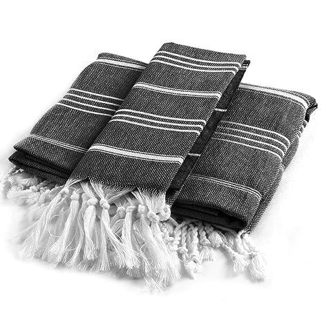 Toallas de Baño Turcas (2 Piezas) - Peshtemal Tradicional para baño y Cocina -