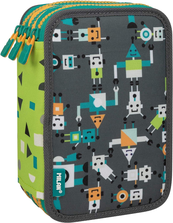 Plumier 3 pisos con contenido Happy Bots gris: Amazon.es: Oficina y papelería